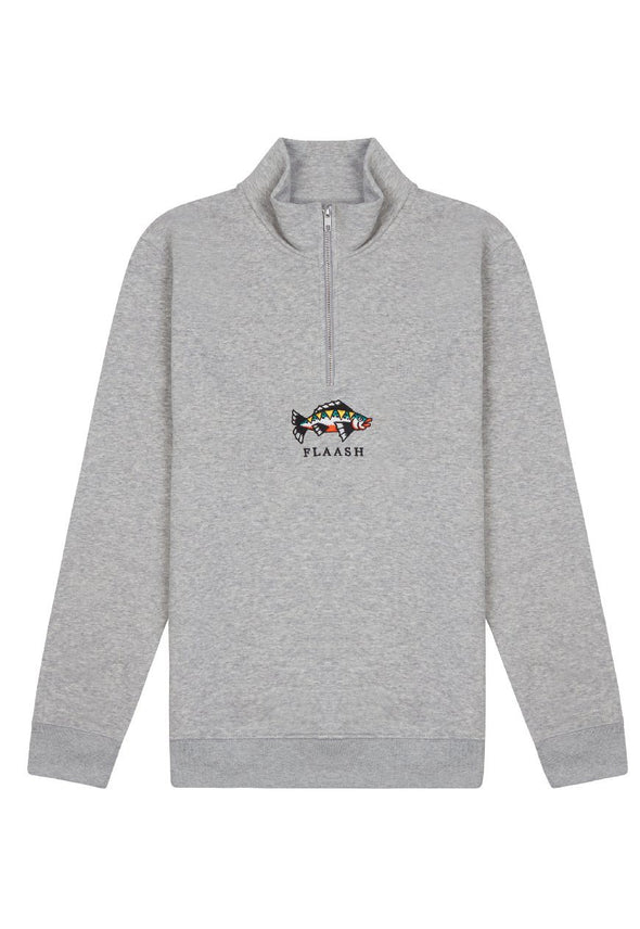 Sleep with the Fishes Organic 1/4 Zip - Grey flaash apparel1