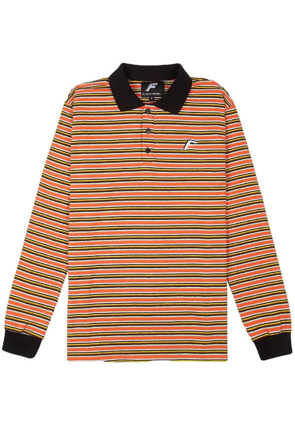 Samuel Striped Longsleeve Polo - Orange Flaash Apparel