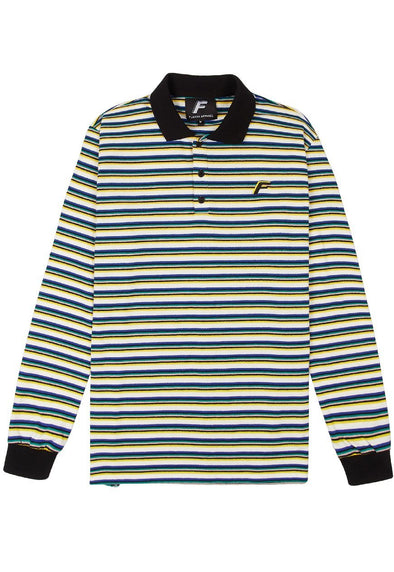 Samuel Striped Longsleeve Polo - White Flaash Apparel