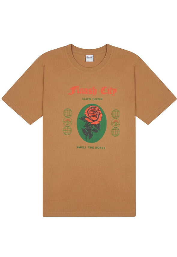 Slow Down Organic Camel Tee Flaash Apparel