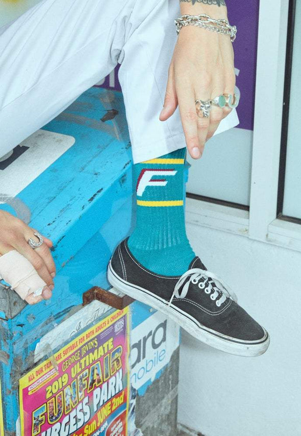 F's Crew Socks Teal flaash apparel1