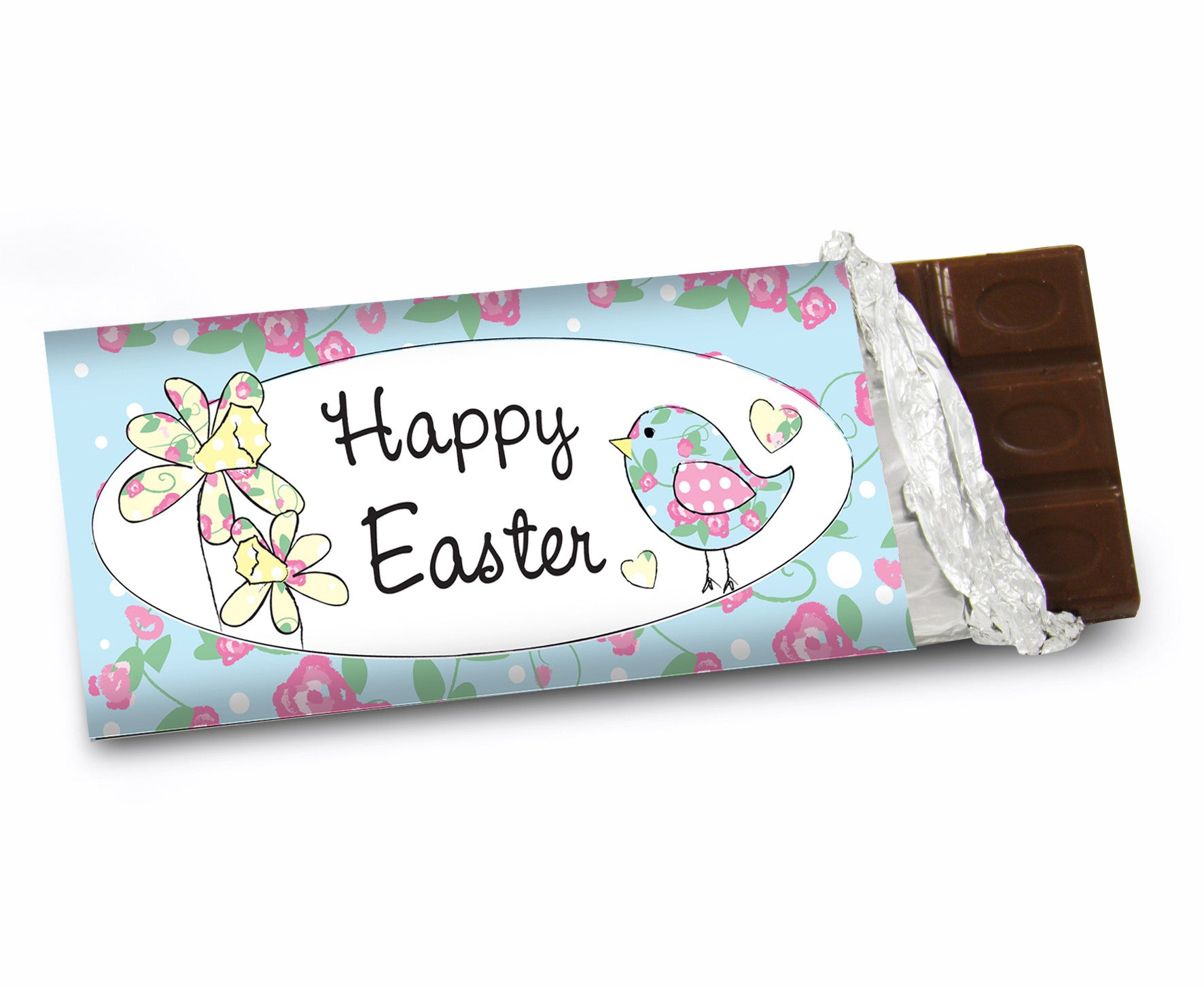 Gift horse daffodil floral chick easter chocolate bar personalised daffodil floral chick easter chocolate bar gift horse made4u negle Images