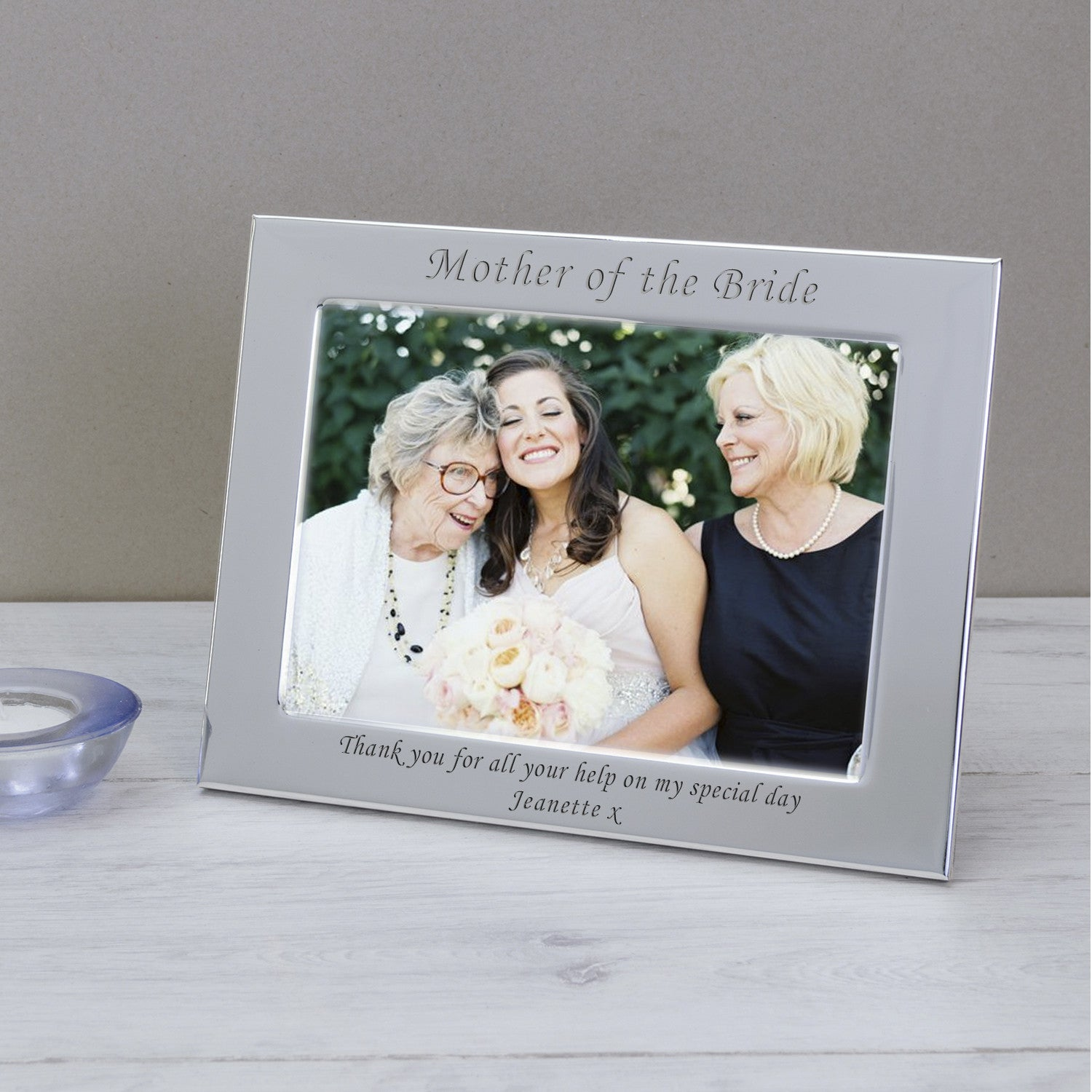 Silver Plated Mother Of The Bride Personalised Wedding Photo Frame