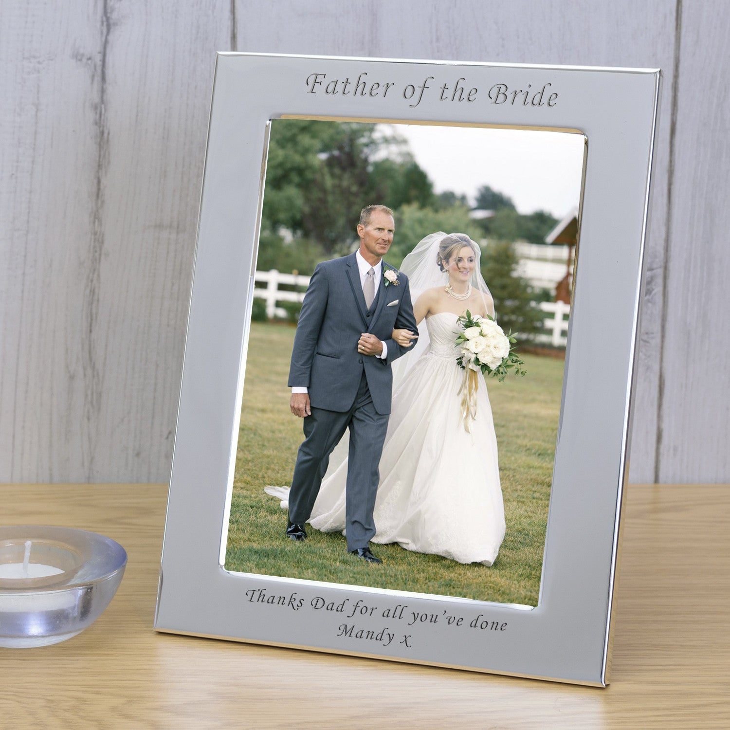 Silver Plated Father Of The Bride Personalised Wedding Photo Frame