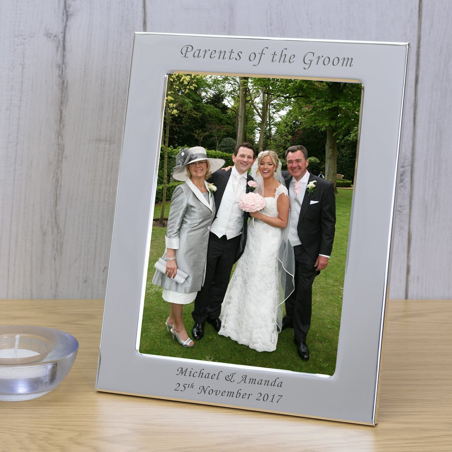 Silver Plated Parents Of The Bride Personalised Wedding Photo Frame