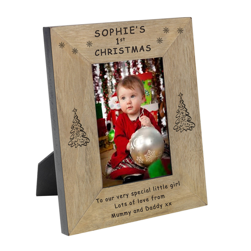 1st christmas wooden photo frame 4x6 or 5x7
