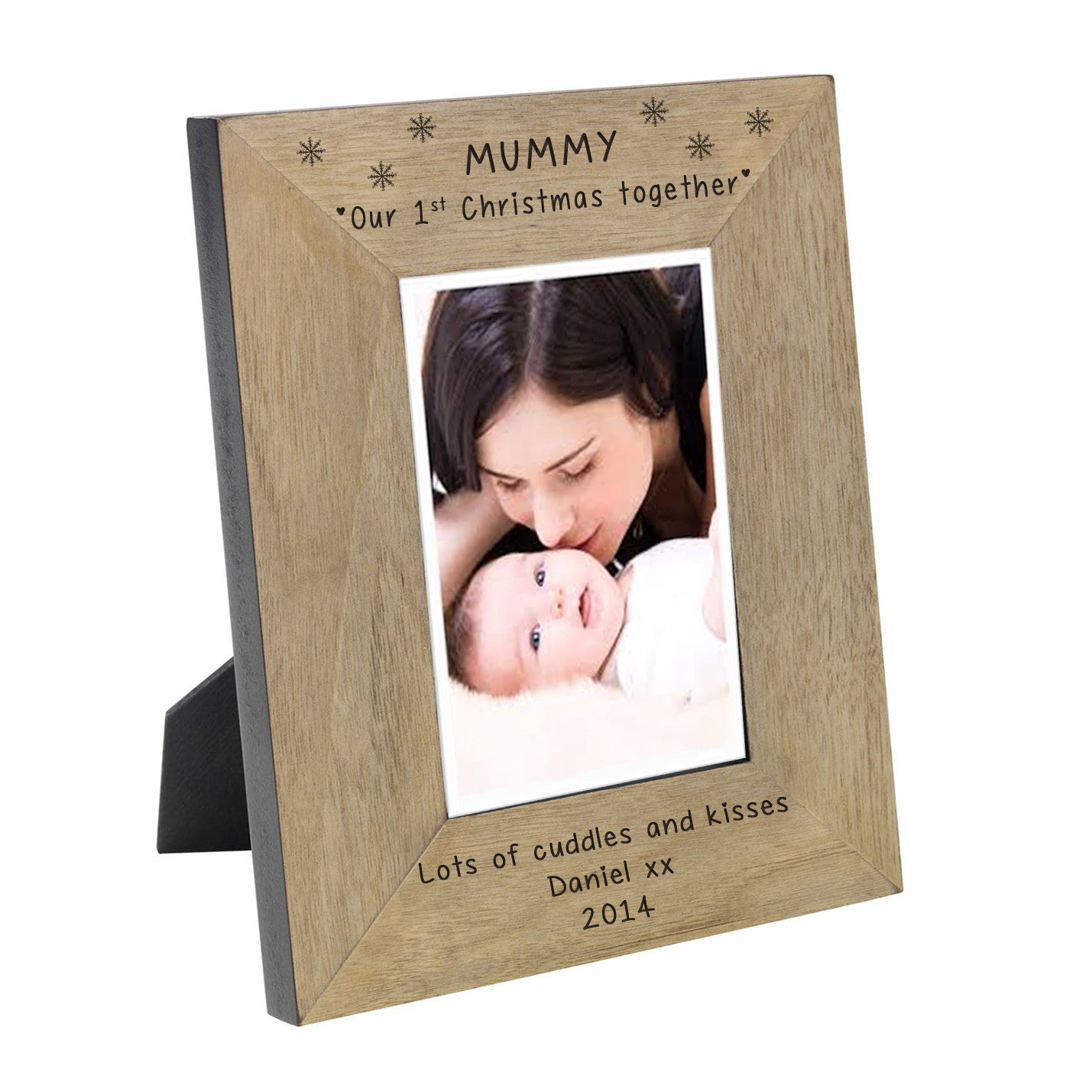 Wooden Mummy Our 1st Christmas Personalised Photo Frame