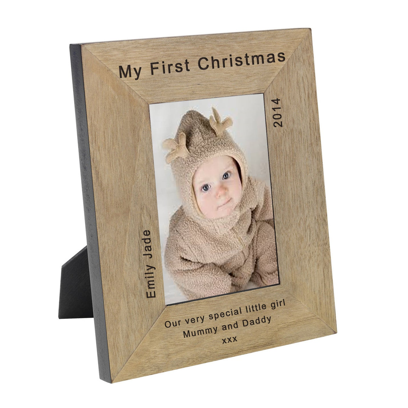 Wooden My First Christmas Personalised Photo Frame