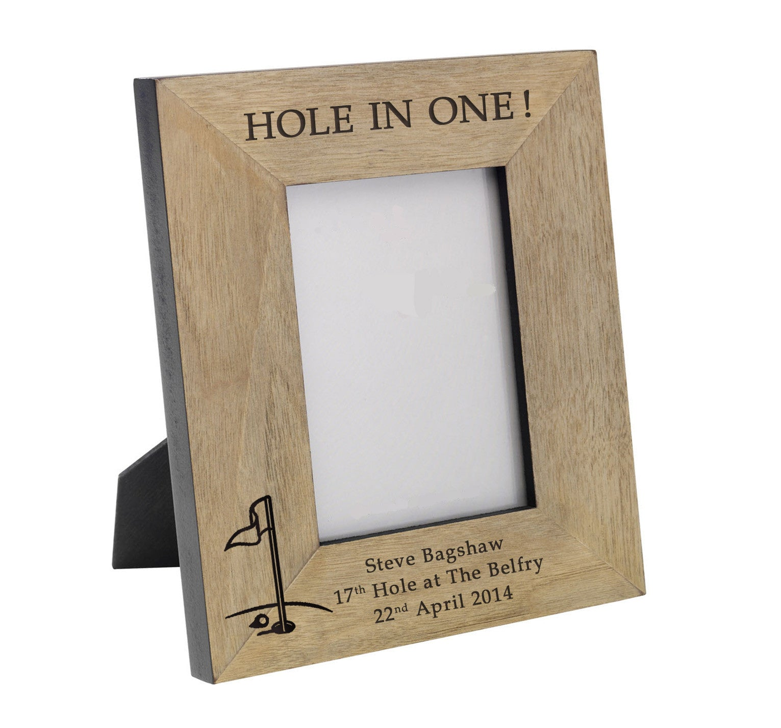 HOLE IN ONE!\' Wooden Personalised Golf Photo Frame