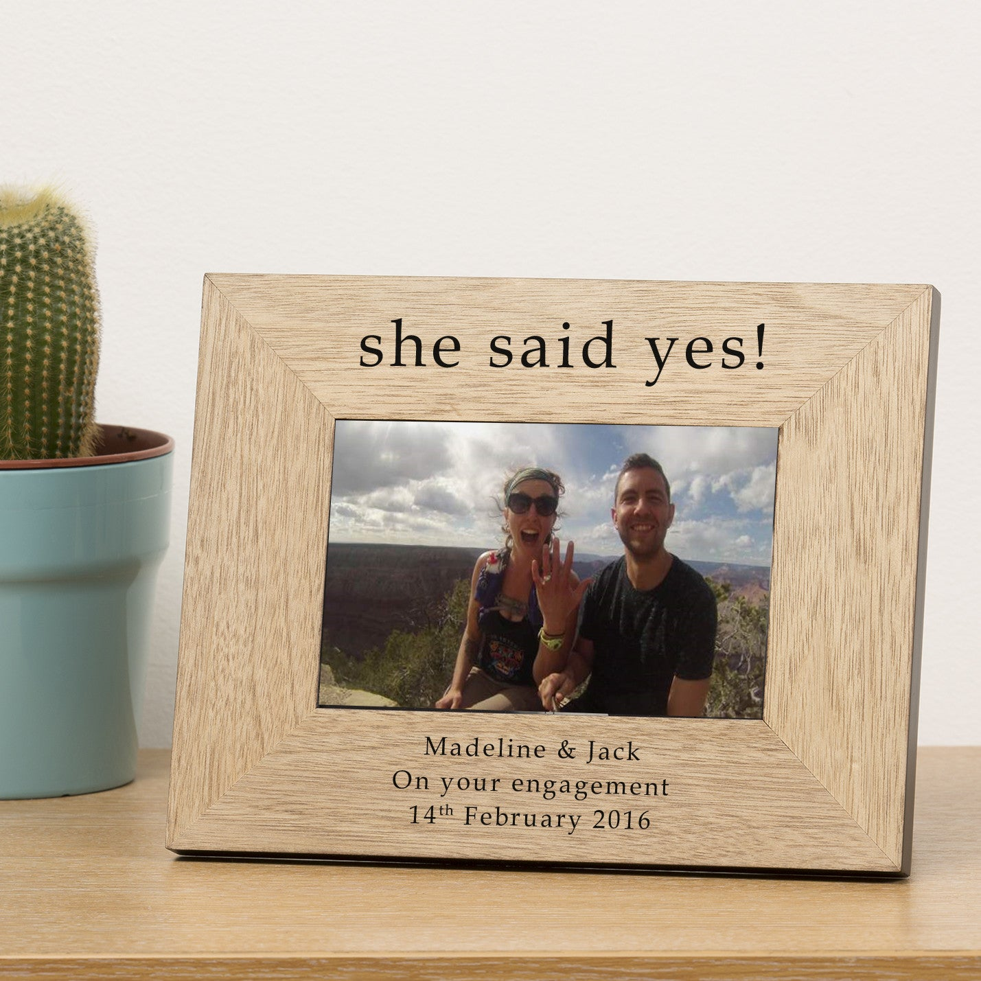She Said Yes Wooden Engagement Personalised Photo Frame