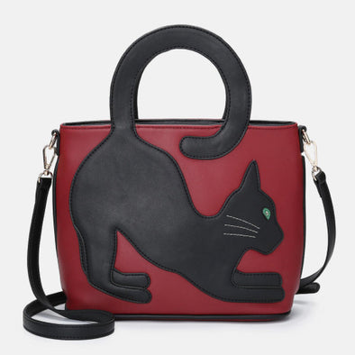 Women Faux Leather Cute Cat Pattern Casual Handbag Crossbody Bag-(BN-1542923)