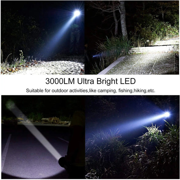 [2 in1-Powerbank for phone emergency charge ]3000LM USB Rechargeable Waterproof Portable LED Spotlight Searchlight-(BK-1605853)