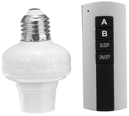 E27 Screw-Head-(Wireless Remote Control Switch Lamp Holder Bulb Adapter-AC185-265V)-(BN-1280977)