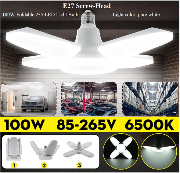 E27 Screw-Head-100W-4-Foldable 235LED Light Bulb-(AC85-265V-Pure white)-(BN-1618202)