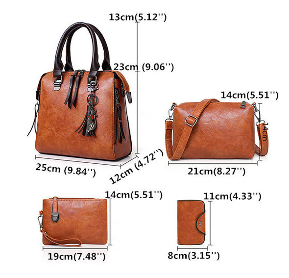 4 PCS Women Faux Leather Handbag Vintage Elegant Multi-function Bag-(BN-1352263)