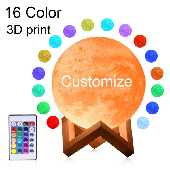 Rambery Moon Lamp 3D Print Night Light Rechargeable 3 Color Tap Control Lamp Lights