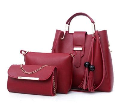 Women Faux Leather 3 piece Set Tassel Handbag Crossbody Bag Clutch Bag-(BN-1365762)