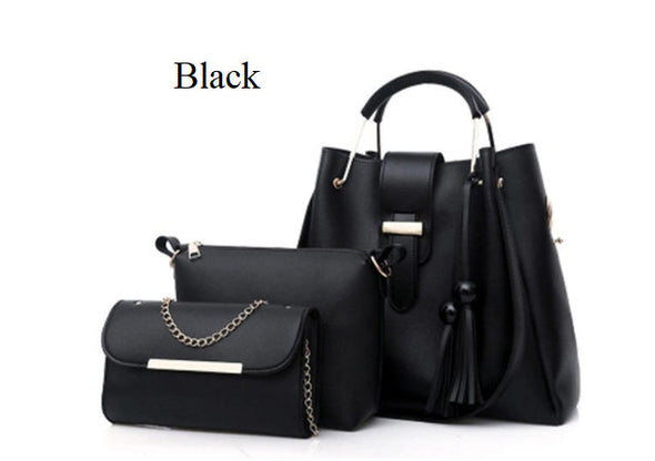 (BN-1365762)-Women Faux Leather 3 piece Set Tassel Handbag Crossbody Bag Clutch Bag