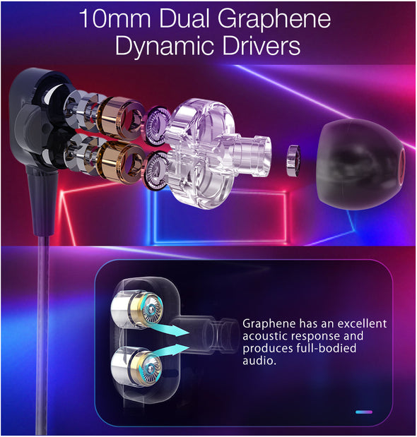 [Dual Dynamic Drivers] Graphene Magnetic Earphone 3.5mm  BlitzWolf®BW-ES4 3.5mm Wired Control In-ear earphone with Mic-(BN-1612613)