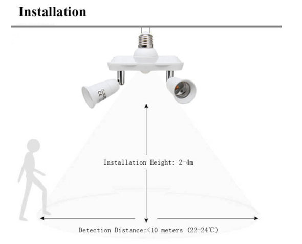LUSTREON E27 Screw-Head-Infrared Motion Sensor (Adjustable Double Head-Less 60W Bulb) Adapter Socket Splitter-(BN-1236052)