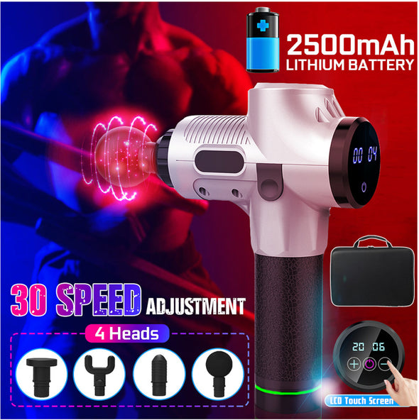 30 Gear 2500mAh Electric Massager Muscle Massage Therapy Vibration Gun Deep Tissue Display Cordless Massager Percussion Massage Device-(BN-1551012)