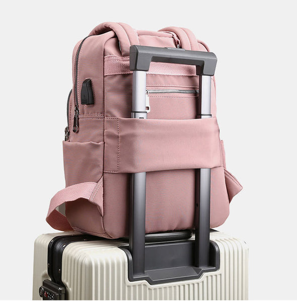 Women Nylon Waterproof Casual Patchwork Backpack With USB Charging Port-(BN-1566049)