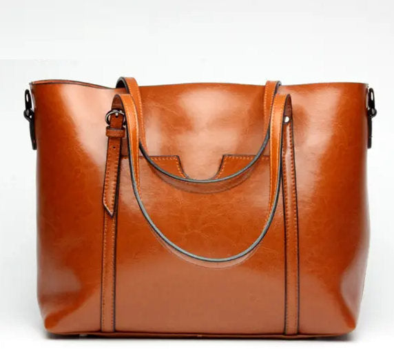 (BN-1127631)-Casual-Oil PU Leather Tote Handbag Front Pockets Shoulder-Crossbody Bags