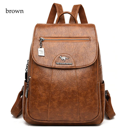 (WBCN-007)-Women Soft Leather Backpack