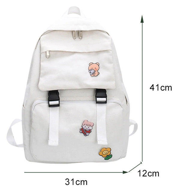 Multi-functional Studying Accessaries Canvas Backpack Shoulder Bag  Schoolbag-(WBK-003)