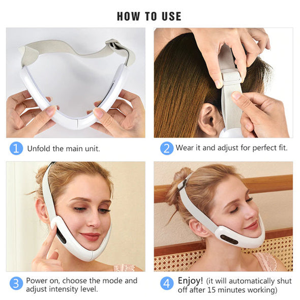 LED Photon Light Therapy V Face Massager EMS Facial Lifting Face Slimming Double Chin Reducer Anti Aging Belt Jaw Exerciser-(HBKU-009)