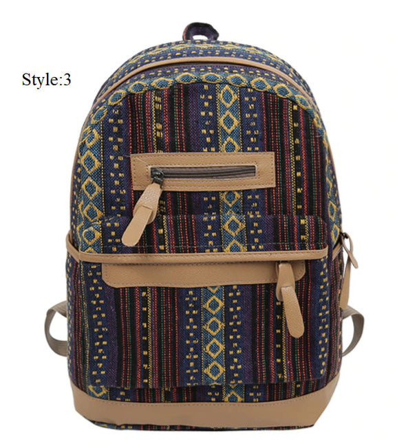 (WBK-004)-Canvas Ethnic Retro Big Capacity Backpack