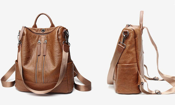 Women Leather Backpack-(WBN-006)