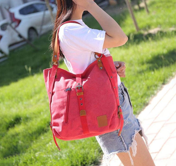 (WHSK-007)-Fashion Canvas Handbags Shoulder Bags