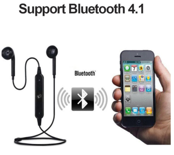 Swaet proof Sport Stereo Earphones with Mic-Bluetooth 4.1-(Black)-(BKA- EHE-30080)