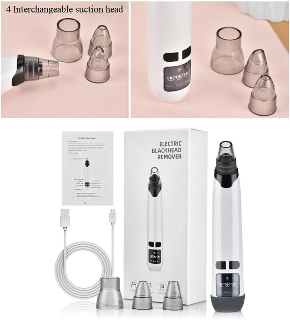 (BHK-003)-Heating compress function-Nose Blackhead Remover -T Zone Pore Acne Pimple Cleaner Vacuum Suction Facial Clean Skin Tool-(86 Sold)