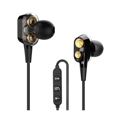 (EPK-002)-Double Dynamic Hybrid  5.0 Bluetooth Earphone Four Unit Drive Deep Bass  with mic-(186 Sold)