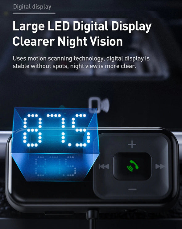 5.0 Mp3 Player Fm Transmitter Radio modulator Adapter 3.1A USB Car Charger Handsfree call -Car Battery voltage detection-(HSN-88)