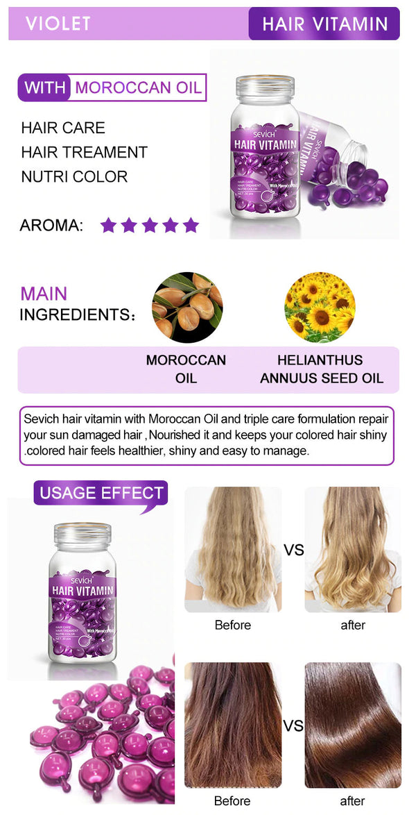 (BHK-011)-( 3 Bottle )-Smooth Silky Hair Vitamin Capsule Keratin Complex Oil Hair Care Repair Damaged Hair Serum Anti Hair Loss