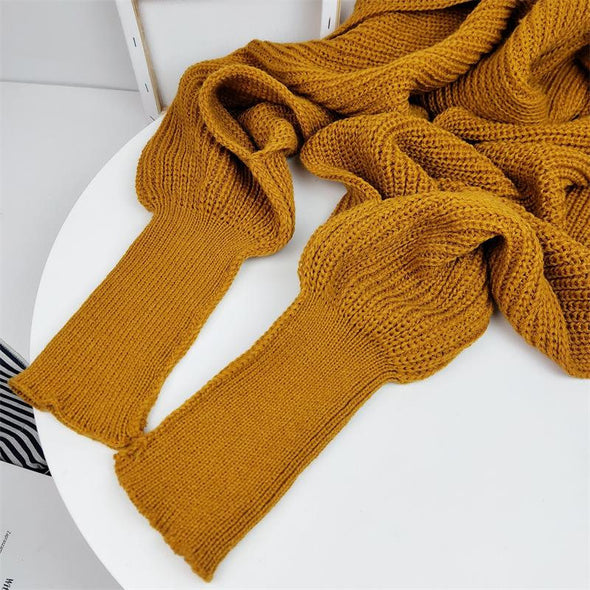 (HSC-002)-European style Women Winter long scarf with sleeves wool knitted Casual Shawl High quality-One Size:220cmx50cm