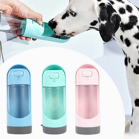 (HSKN-003)-Portable Pet Water Bottle 300ml Drinking Bowl for  Cat Dogs Feeding Water Bottles-(584 Sold)