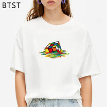 Carica l'immagine nel visualizzatore di Gallery, Sheldon Cooper Melting Rubiks Cube Harajuku Women T Shirt Shirt Aesthetic Haut Femme Graphic Tees Hot Sale Summer Top Men Tshirt