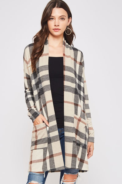 Tartan Plaid Sweater Cardigan