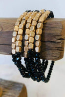 5 Strand Stone and Gold Set - Black