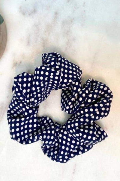 Polka Dot Scrunchies - Navy