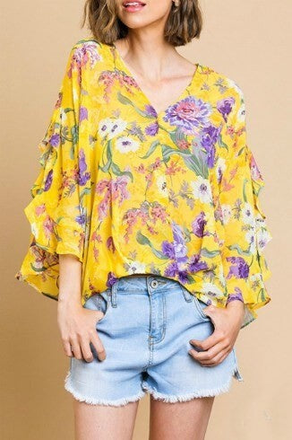 Floral Top with High Low Scoop Hem