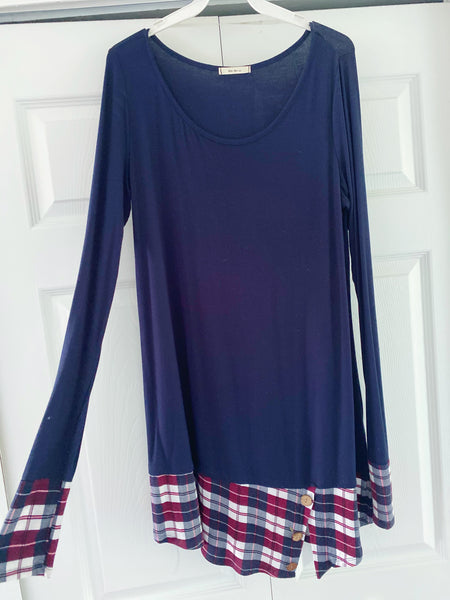 Navy and Plaid Long Sleeve Tunic