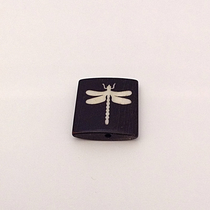Bone Bead - Tile White Dragonfly