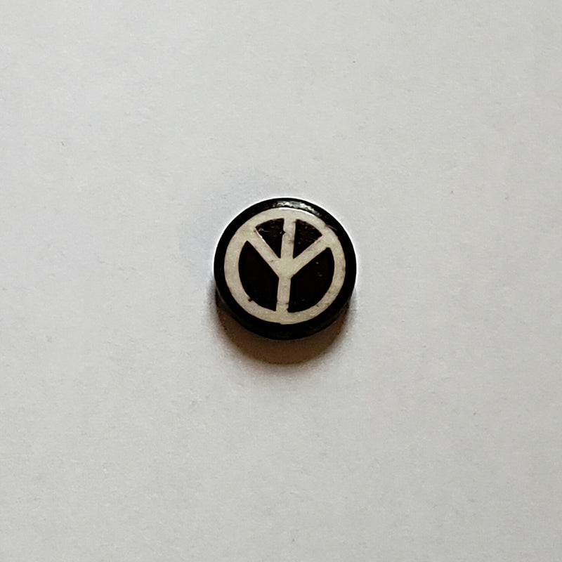Bone Bead - Coin White Peace Sign