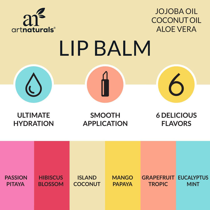 ArtNaturals Natural Lip Balm Beeswax  -  Chapstick for Dry, Chapped & Cracked lips - Lip Repair with Aloe Vera, Coconut, Castor & Jojoba Oil