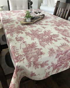 Toile Tablecloth - Red on Cream